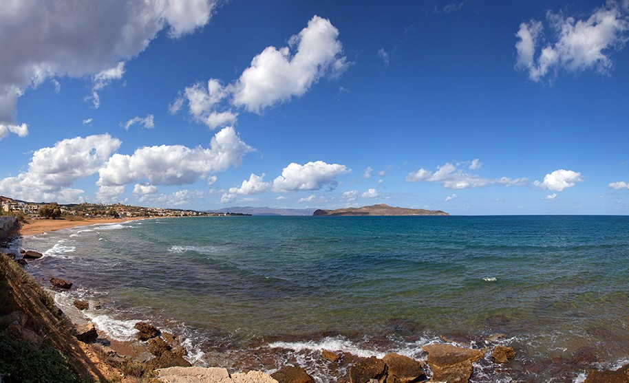 Kréta Agia Marina zlatá pláž moře pobřeží Řecko ostrov Agio Theodori