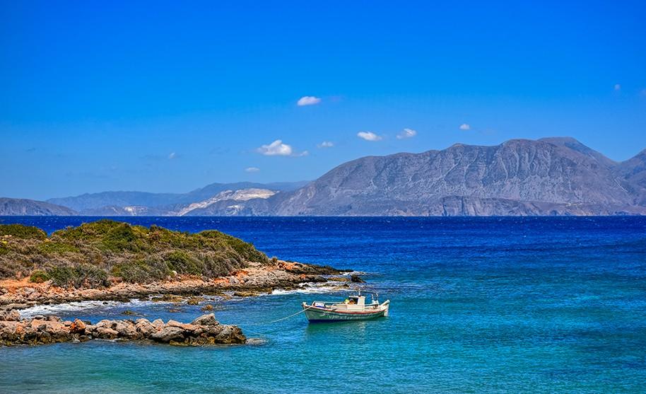 Kréta Ammoudara romantika pobřeží moře záliv hory Řecko
