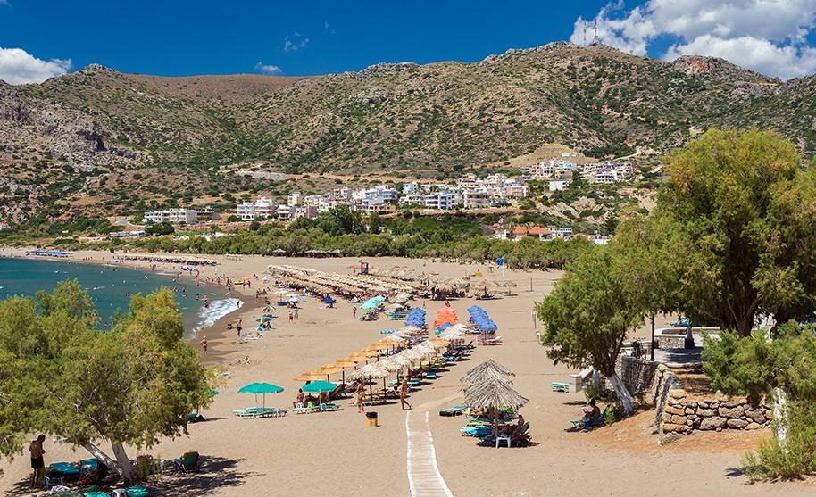 Kréta Paleochora pláž zlatý písek moře slunce hory Řecko