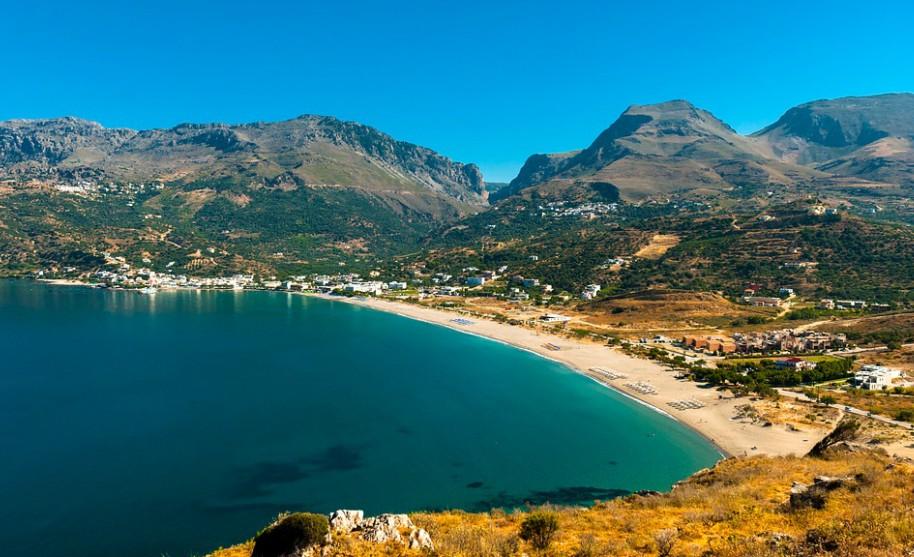 Kréta Plakias pobřeží hory panorama moře pláže Řecko