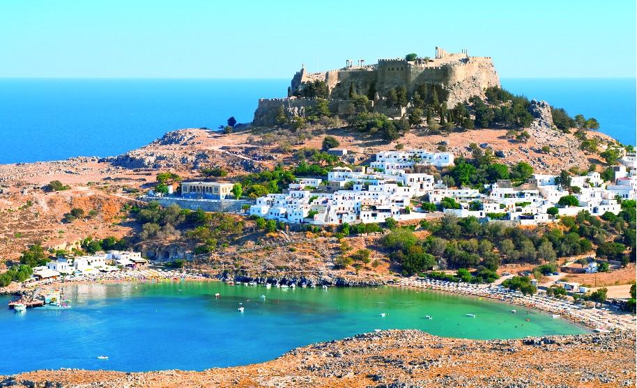 Rhodos Lindos akropole pevnost pláž oslík Řecko