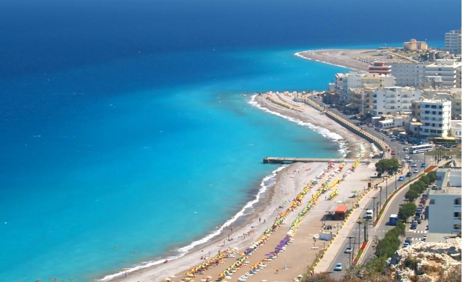 Rhodos město pláž Středozemní Egejské moře Ixia Řecko