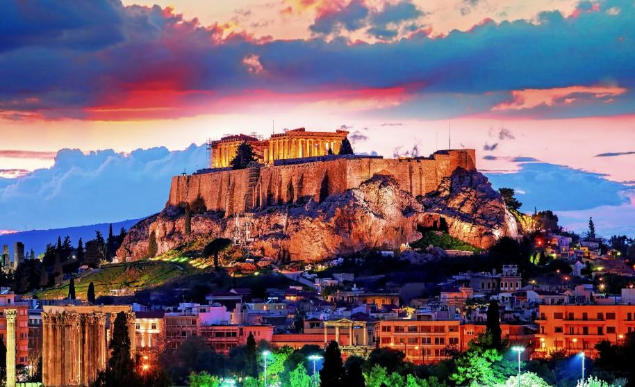 Řecko Atheny Attika akropole chrámy město západ slunce Řecko