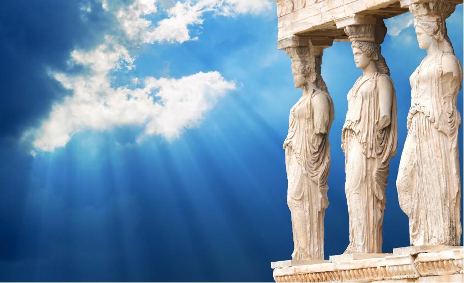 Rhodos město symbol města přístav sloup socha Řecko