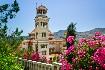 Řecko příroda zeleň zvonice klášter květiny slunce Řecko