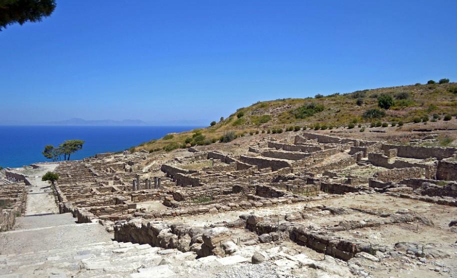 Rhodos antické město Kamiros naleziště staré stavby Řecko
