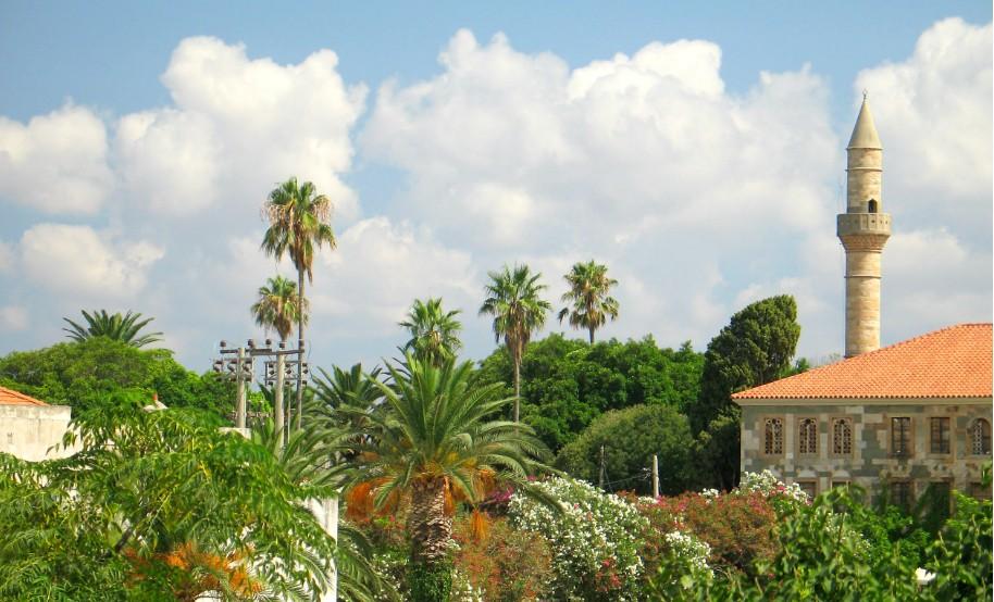 Kos město park palmy příroda minaret Řecko