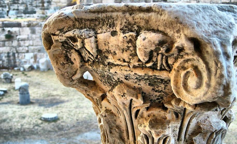 Kos město antika sloup hlava sloupu Řecko