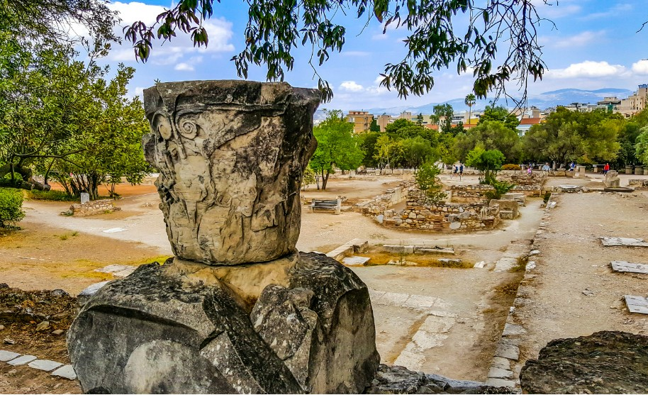vykopávky antické archeologické naleziště v Athénách