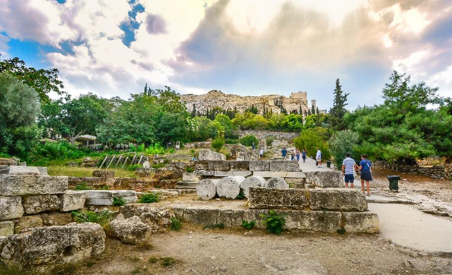 Akropole a Parthenon paláce v Athénách v Řecku