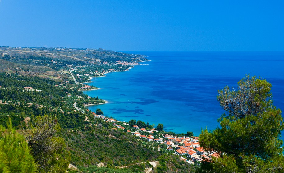 panoramatický pohled na Chalkidiki v Řecku krásné pláže