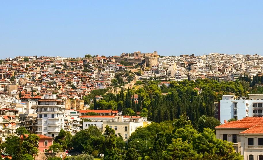 panoramatický pohled na město Soluň Thessaloniki v Řecku