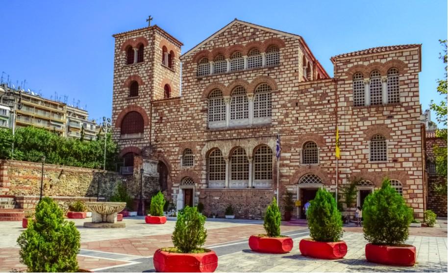 Církev St Demetrius v Thessaloniki na Olympské riviéře