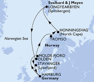 Msc Preziosa - Německo, Norsko, Svalbard and Jan Mayen Islands (Hamburk)