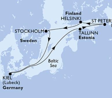 Msc Splendida - Německo, Estonsko, Rusko, Finsko, Švédsko (Kiel)