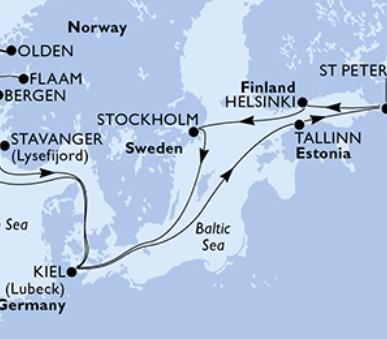 Msc Splendida - Německo, Estonsko, Rusko, Finsko, Švédsko, Norsko (Kiel)