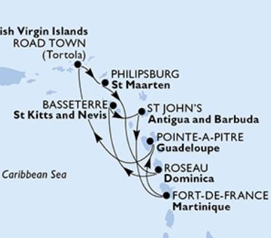 MSC Splendida - Martinik, Guadeloupe, Panenské ostrovy (British), Nizozemské Antily, Dominika...