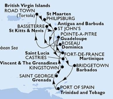 Msc Splendida - Martinik, Guadeloupe, Sv.Lucie, Barbados, Trinidad a Tobago, Grenada, Saint Vincent