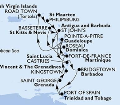 Msc Splendida-Guade.,Panen. o.,Nizo. Antily,Dominika,Sv.Kryštof a Nevis,Antigua a Barbuda,Martinik