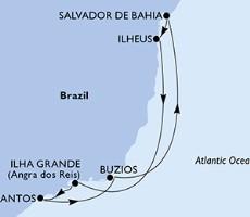 Msc Grandiosa - Salvador, Ilheus, Ilha Grande, Santos, Buzios, Salvador (Salvador De Bahia)