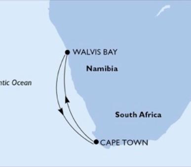 Msc Opera - Jihoafrická r., Namíbie (Kapské Město)