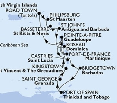 MSC Seaview - Guadeloupe,Panenské ostrovy (British),Nizozemské Antily,Sv.Kryštof a Nevis,Antigua...