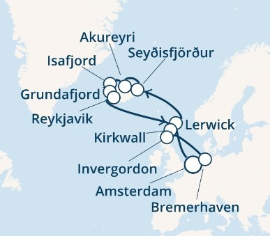 Costa Favolosa - Nizozemí, Skotsko, Island, Německo (z Amsterdamu)