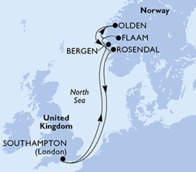 MSC Magnifica - Velká Británie,Norsko