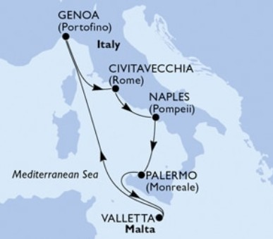 MSC Grandiosa - Itálie, Malta (z Janova)